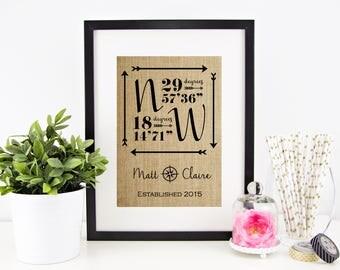 Personalized Wedding Gift for Couple | Latitude Longitude Sign | Burlap Print | Engagement Gift | Bridal Shower Gift | GPS Coordinates
