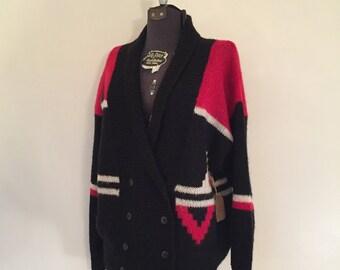 Vintage Aztec Sweater / Large/XL / Wool Sweater
