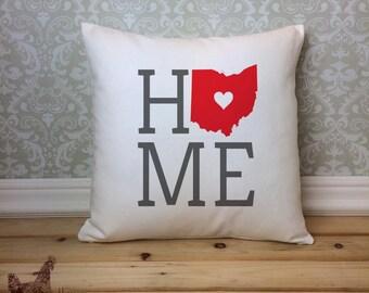 Ohio Pillow, Ohio State Pillow, Ohio Home Pillow, Housewarming Gift, Square Pillow, Ohio Home decor, Ohio decor, Ohio Gift Idea