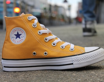 Kids Converse Childrens High Top Youth w/ Swarovski Crystal Rhinstone Solar Orange Canvas Chuck Taylor Bling All Star Sneakers Shoes