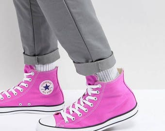 Pink Converse Magenta High Top Fuchsia Lilac Rose w/ Swarovski Crystal Rhinestone Wedding Chuck Taylor All Star Trainers Sneakers Shoes