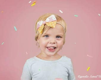 Ice Cream Party, Girls 1st Birthday, Toddler Hair Bows, First Birthday Party, Pink baby headband, Kawaii clip, Hand Painted bows, Cake Smash