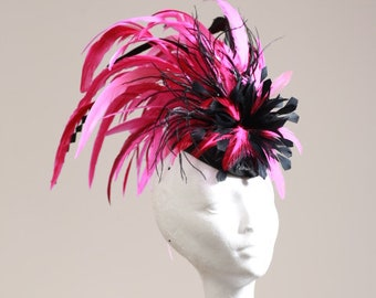 Black & Hot Pink,Cerise,Fuschia,Magenta Mohawk Fascinator Hatinator Pillbox Perfect for the Kentucky Derby or Aintree, Ascot