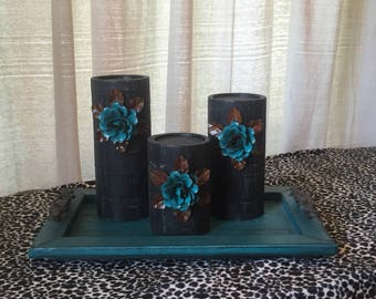Wooden Candleholders (set of 3) Black with Turquoise Flowers