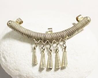 Long Ethiopian Silver Pendant, Ethnic Jewelry Supplies, African Pendant (AK69)