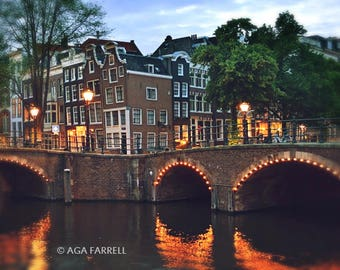 Amsterdam Canal Bridge, Art Print, City Lights, Travel Photography, Large Wall Print, Amsterdam at Night, City Wall Art, Large Wall Art