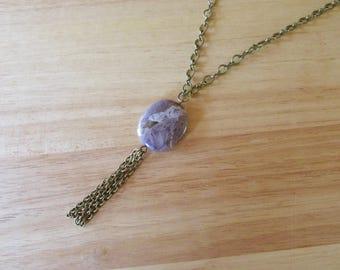 Amethyst Chain Tassel Necklace