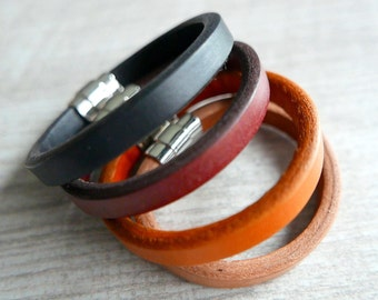 Bracelet vegetable tanned leather Mixte/black/red/brown/orange