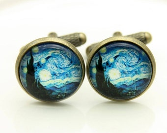 Cufflinks starry night van gogh (1616)