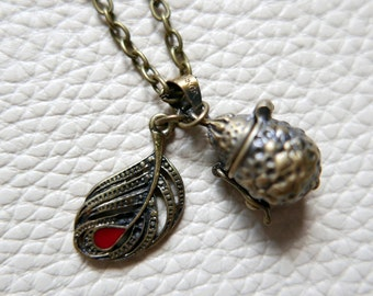 Box of happiness Necklace locket feather