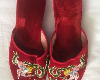 1950's RED VELVET SLIPPERS Size 8.5 Hand Beaded Stork and Flowers Theater Costume 2C