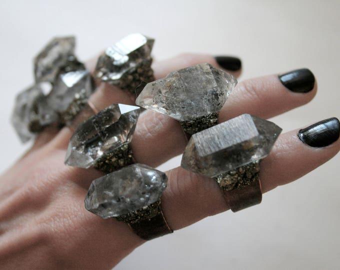 Tibetan Pale Smoky Quartz Crystal Ring - Medium Size Crystal