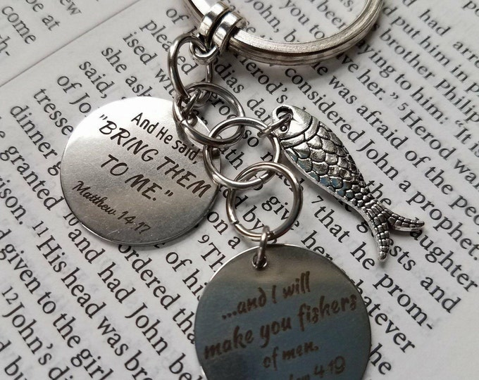 Fishers of men verse Keychain Matt 4 19 verse Matt 14 17 verse Religious gift for man Dad Scripture gift Bible Gift Pastor Gift