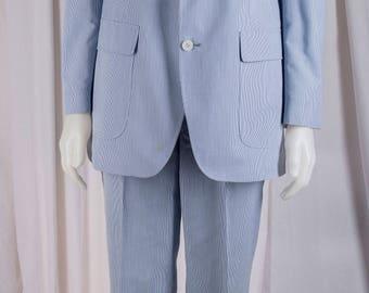 Joseph Robert, Henry Heinemann Jr. Mens,  1960s carolina blue pinstripe suit. Light weight, clean, and stunning.