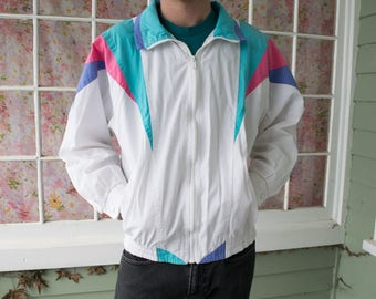 Vintage 80s Colorblock Track Jacket Light Jacket