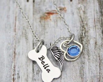 Cremation Urn Necklace - Angel Wing -  Ashes Pendant - Sympathy Gift - Memorial Jewelry - Dog Loss - Dog Name - Bone - Birthstone