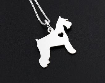 Schnauzer necklace Personalized Engraveable sterling silver Schnauzer breed pendant With Heart - Dog Breed Jewelry Best Memorial Pet Gift