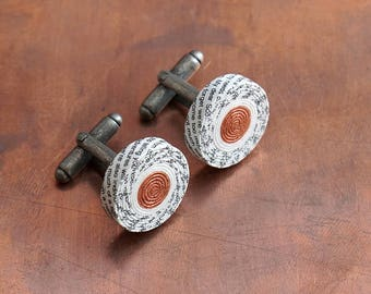 1st Anniversary Gift for Husband, Personalised Paper Cufflinks with Custom Engraving