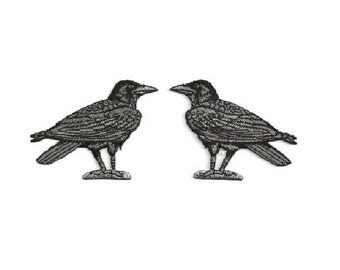 Raven - Crow - Bird - Corvus - Embroidered Black/Gray Iron On Patch - Set Of 2