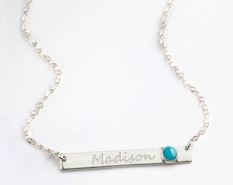 December Birthstone Necklace, Nameplate Necklace, Personalized Name Necklace, Turquoise Necklace, Gemstone Bar Necklace, custom name bar