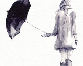 Umbrella Print- illustration print- watercolour art