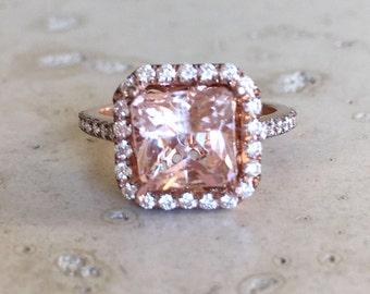 Morganite Cushion Rose Gold Ring- Square Morganite Engagement Ring- Halo Morganite Promise Ring- Solitaire Large Morganite Anniversary Ring