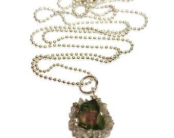 Watermelon Tourmaline Slice Necklace Raw Diamond Necklace Tourmaline Necklace Real Diamond Necklace Charm Necklace Tourmaline Jewelry