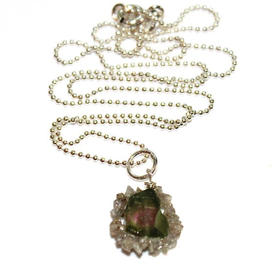 Watermelon Tourmaline Slice Necklace with Raw Diamonds