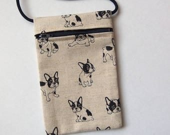 """Pouch Zip Bag FRENCH BULLDOG Fabric.  Great for walkers, markets, travel. Cell phone pouch. small fabric purse. terrier puppies 6.5""""x4.25"""""""