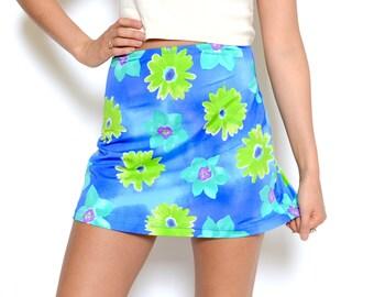 Vintage 90's Floral Print A-Line Skirt Sz M