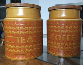 1970's Hornsea Saffron tea and coffee cannisters