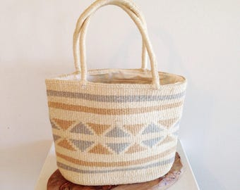 Vintage 1980s Straw Geometric Pattern Tote Bag Purse