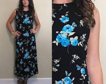 Vintage Floral Patterned Black Grunge Punk Long Sleeveless Maxi Dress Size Small