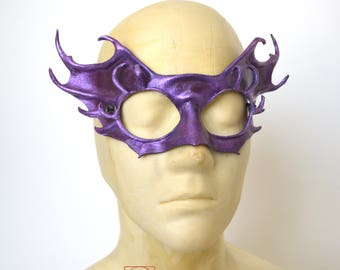 Purple Iridescent Sprite Fairy Nymph Leather Cosplay Fancy Dress Sprite Mask