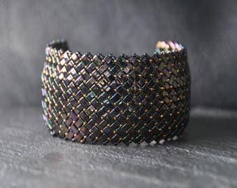 A unique Herringbone Half Tila beads Bracelet,  Handmade, Beaded,Handwoven Cuff, Miyuki crystal beads