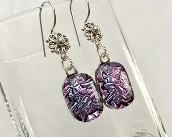 Pink Dichroic Glass Earrings, Fused Glass Jewelry, Pink Lilac Dichroic Sterling Silver Flower French Hooks