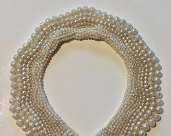 Beaded Collar / Vintage Baar & Beards Faux Pearl Sweater Collar / Glass Pearl Collar Japan Hand Made / A Top Hit Fashion Collar