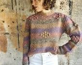 Striped Pastel Popcorn Knit 1970s Cropped Wool Sweater M