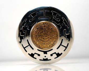 Aztec Calendar Two Tone Circle Brooch Pendant Vintage Signed Sterling Silver