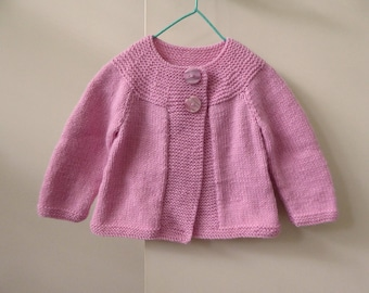 Swing style cardigan for baby girl, hand knit pink baby sweater, girl 6 - 12 months, baby knitwear, knitted baby cardigan