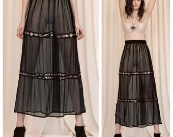 vintage 80s/90s MOSCHINO Cheap and Chic sheer cut out layered maxi skirt