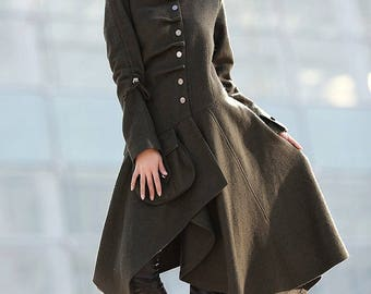 Coat, asymmetrical coat, Army coat, Green Coat, swing coat, jacket, wool coat, womens coats, army jacket, modern coat, dress coat  C183