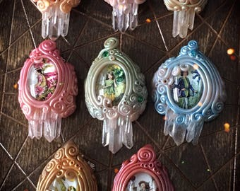 Faerie Crystal Cathedral Pendants // fantasy fairy fairies flower pendant necklace necklaces crystals