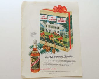 Old Fitzgerald Kentucky Bourbon Ad - Vintage Advertising for Bar Wall Art