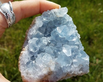 Blue Celestite Crystal Geode Sparkly Chunk, Gemstone Goddess Crystal- intuition, awareness, third eye chakra energy love