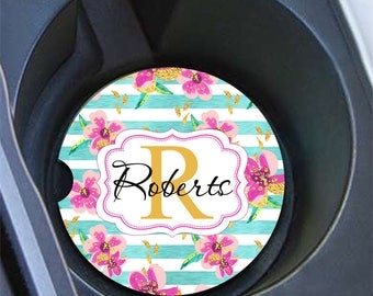 Stripes car coasters with name, Blue and pink, Faux gold foil flowers, Gift for new mother, Pink car accessories, Gift for her (1791)
