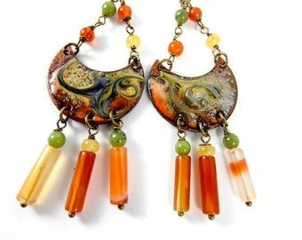 SPICES. Bronze earrings dangling copper enameled semi precious.
