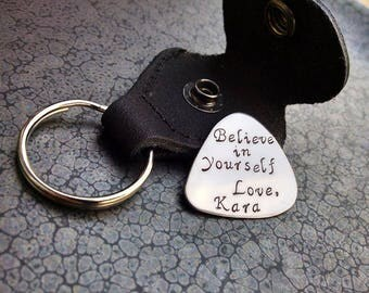 Valentine's Day Gift Personalized Guitar Pick with Keychain Case Great Gift for Any Guitar Player Believe In Yourself