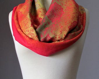 Ombre scarf, infinity scarf, pashmina wrap, fall scarf, paisley scarf, Bright Red