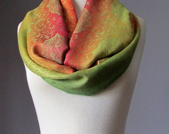 Infinity scarf, ombre scarf, floral scarf, light fall scarf, multicolored scarf, rainbow scarf, bright scarf , Apple Green